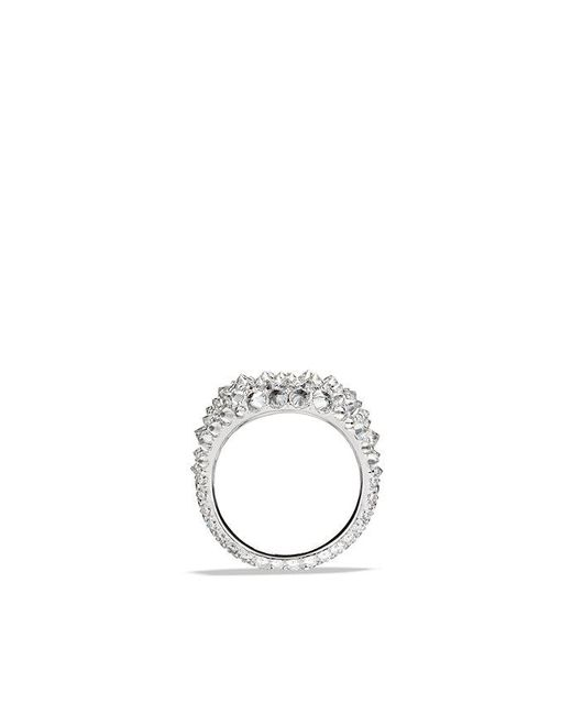 David Yurman - Multicolor Dy Signature Pinky Ring With Diamonds In 18k White Gold - Lyst