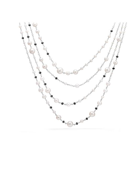 David Yurman - Metallic Oceanica Pearl And Bead Link Necklace With Pearls And Black Spinel - Lyst