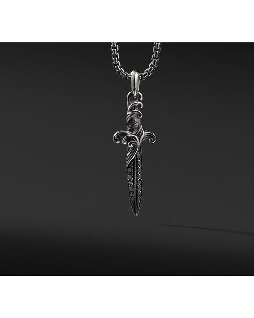 David Yurman - Waves Dagger Amulet With Black Diamonds for Men - Lyst