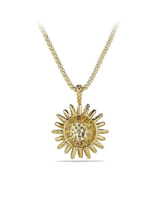 David Yurman | Metallic Starburst Medium Pendant Necklace With Diamonds In 18k Gold, 22mm | Lyst
