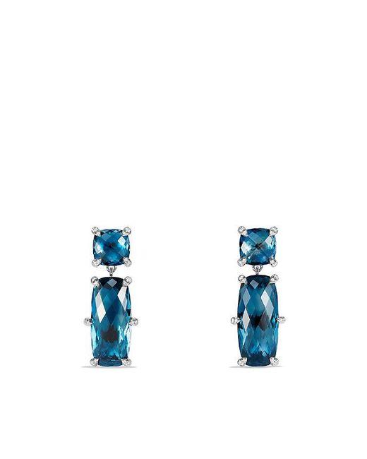 David Yurman - Metallic Châtelaine Double Drop Earrings With Hampton Blue Topaz And Diamonds - Lyst