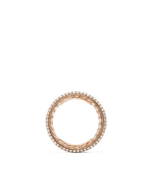 David Yurman - Multicolor Dy Eden Three Row Wedding Band With Diamonds In 18k Rose Gold, 2.8mm - Lyst
