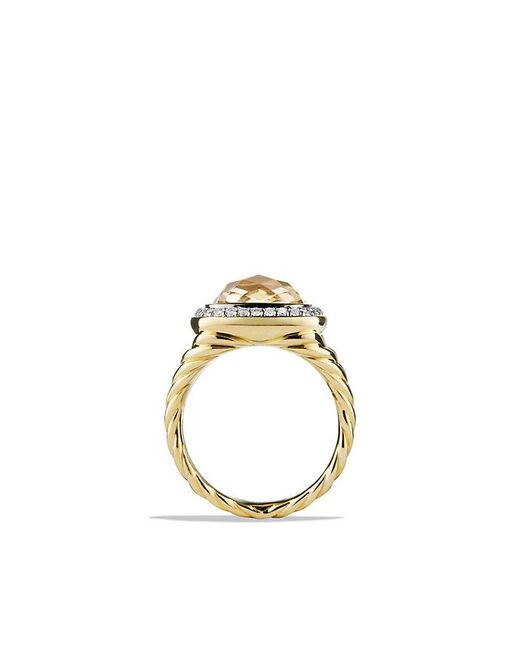 David Yurman | Metallic Albion® Ring With Champagne Citrine And Diamonds In 18k Gold | Lyst