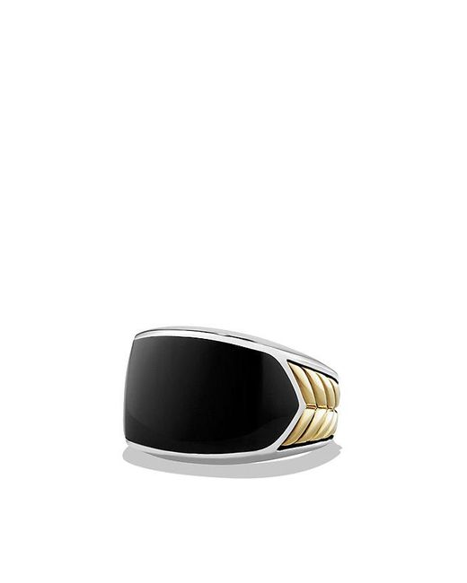 David Yurman | Chevron Signet Ring With Black Onyx And 18k Gold for Men | Lyst
