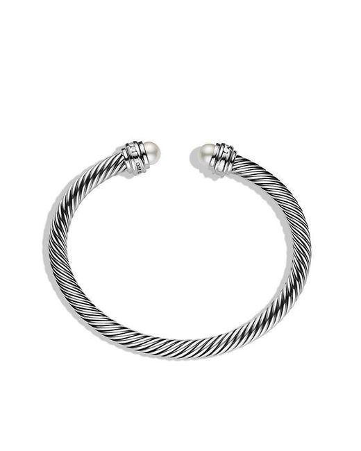 David Yurman | White Cable Classics® Bracelet With Pearls And Diamonds, 5mm | Lyst