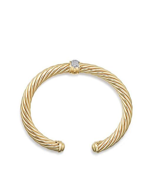 David Yurman - Metallic Cable Classics Bracelet With Diamonds In 18k Gold, 7mm - Lyst