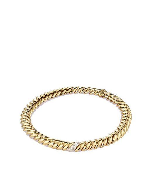 David Yurman | Metallic Hampton Cable Necklace With Diamonds In 18k Gold | Lyst