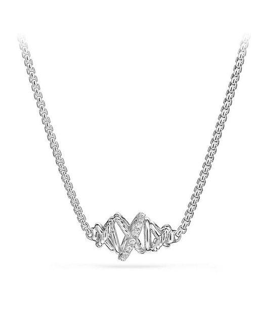 David Yurman | Metallic Crossover Single Station Necklace With Diamonds | Lyst