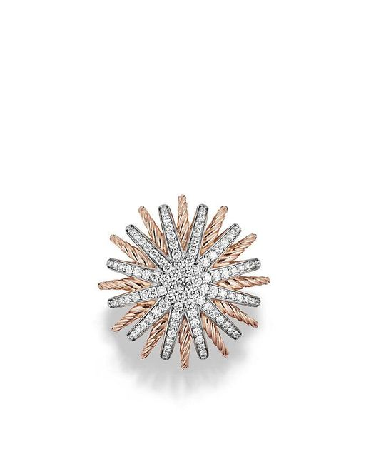 David Yurman | Pink Starburst Ring With Diamonds In Rose Gold | Lyst