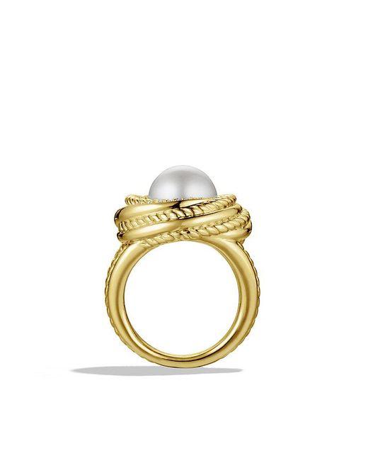 david yurman crossover pearl ring with diamonds in 18k
