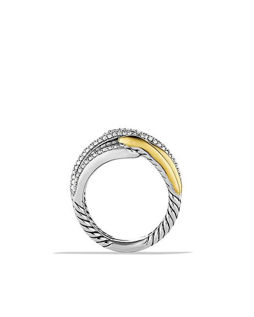 David Yurman | Metallic Labyrinth Double-loop Ring With Diamonds And 18k Gold | Lyst