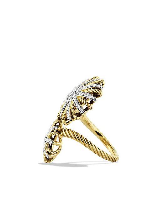David Yurman | Metallic Starburst Open Ring With Diamonds In 18k Gold | Lyst