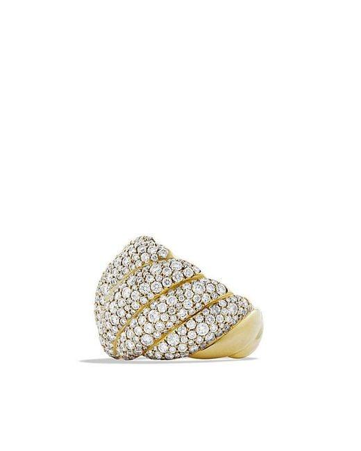 David Yurman | Metallic Hampton Cable Ring With Diamonds In 18k Gold | Lyst