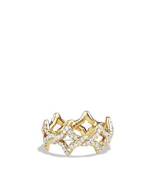 David Yurman | Metallic Venetian Quatrefoil Ring With Diamonds In 18k Gold | Lyst