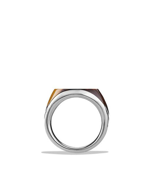 David Yurman | Metallic Chevron Signet Ring With Tiger's Eye for Men | Lyst