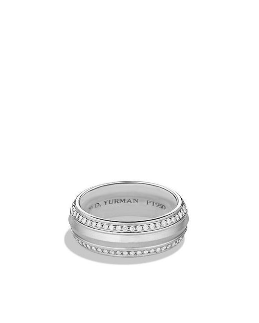 David Yurman | Metallic Knife Edge Band Ring With Diamonds In Platinum, 10mm for Men | Lyst