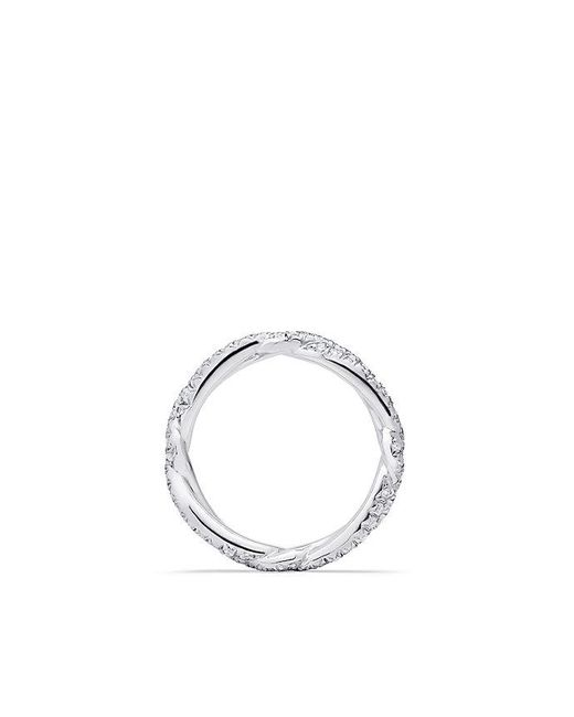 David Yurman | Metallic Dy Wisteria Wedding Band With Diamonds In Platinum, 3mm | Lyst