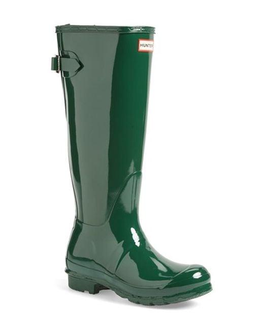 Hunter | Green Adjustable Back Gloss Rain Boot | Lyst