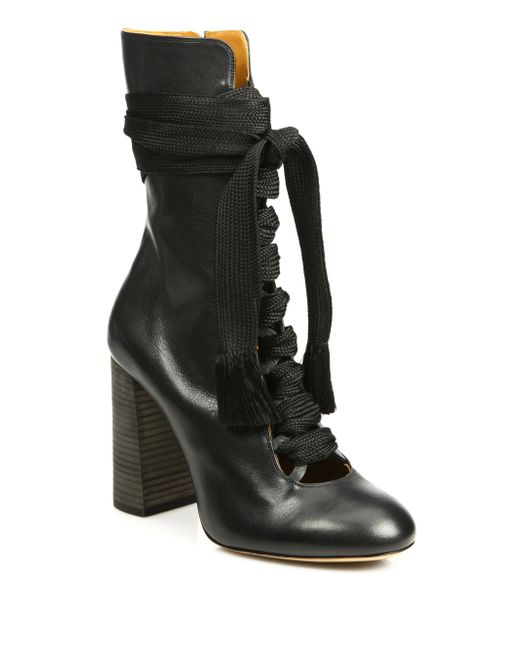 chlo 233 leather lace up front mid calf boots in black lyst