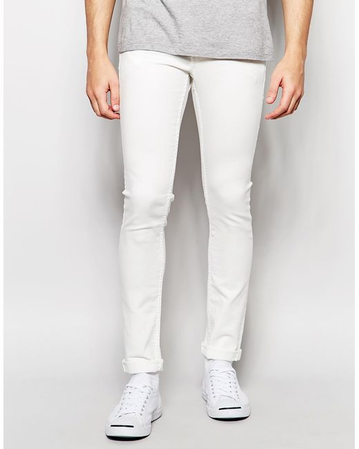 solid skinny fit stretch jeans in white in white for men. Black Bedroom Furniture Sets. Home Design Ideas