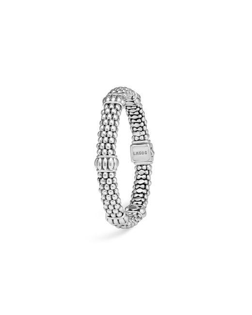 Lagos | Metallic Signature Sterling Silver Fluted Station Caviar Bracelet | Lyst