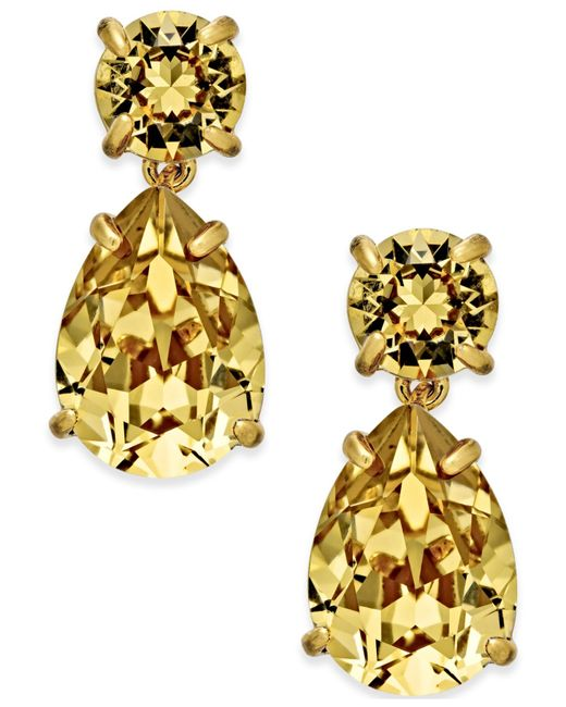 Kate Spade | Metallic Gold-tone Crystal Drop Earrings | Lyst