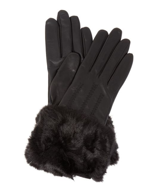 Ted Baker | Black Emree Faux Fur Cuff Leather Gloves | Lyst