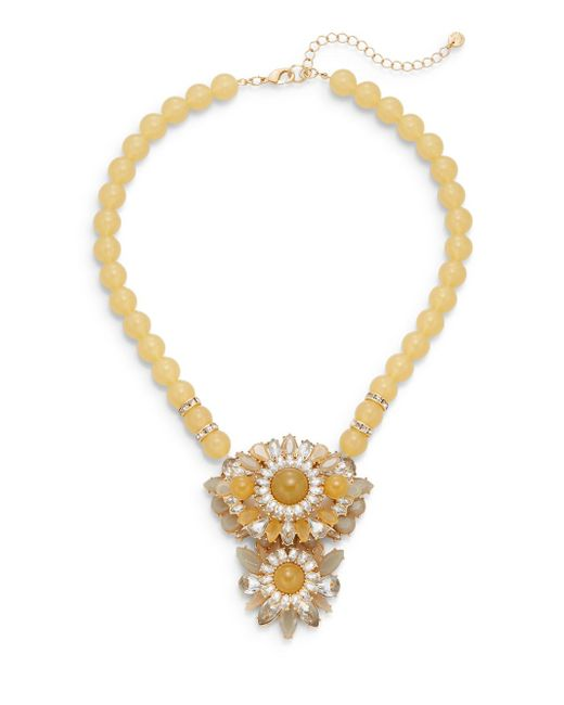 Lydell NYC | Natural Beaded Cluster Statement Necklace/beige | Lyst