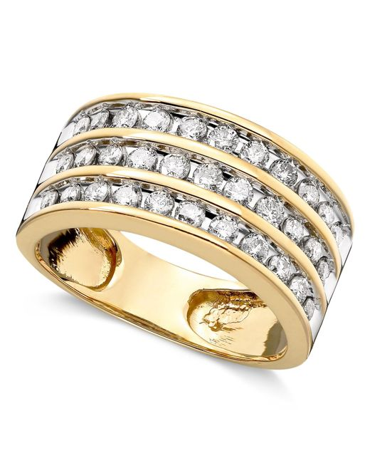 Macy's | Metallic Three-row Diamond Ring (1 Ct. T.w.) In 14k Gold Or White Gold | Lyst