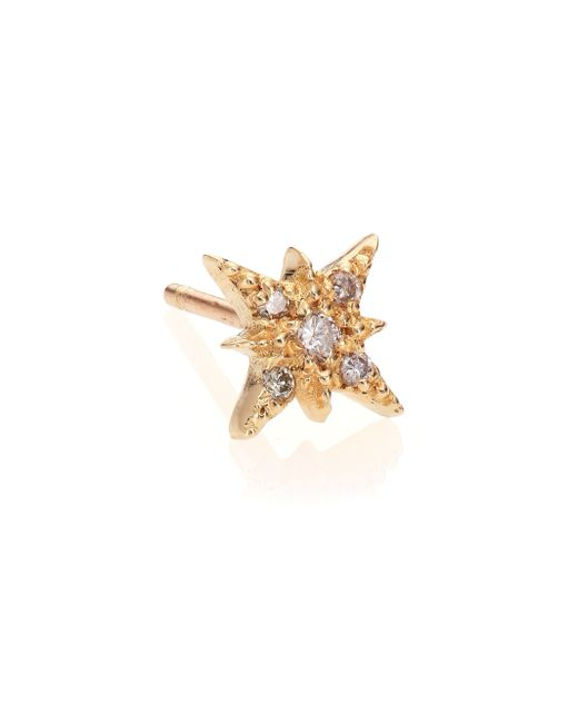 Jacquie Aiche | Metallic Diamond & 14k Yellow Gold Starburst Single Stud Earring | Lyst