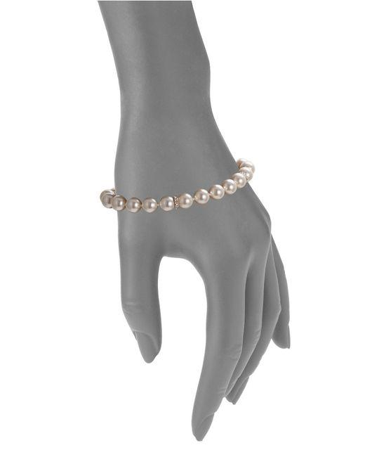 Nadri | White Faux Pearl Linear Bracelet | Lyst