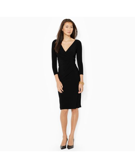 Pink Pony | Black Faux-wrap Jersey Dress | Lyst
