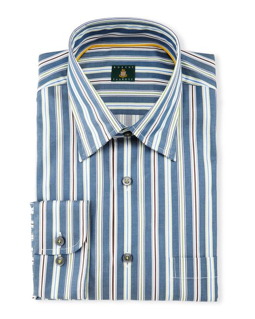 Robert talbott striped woven dress shirt in blue for men for Robert talbott shirts sale