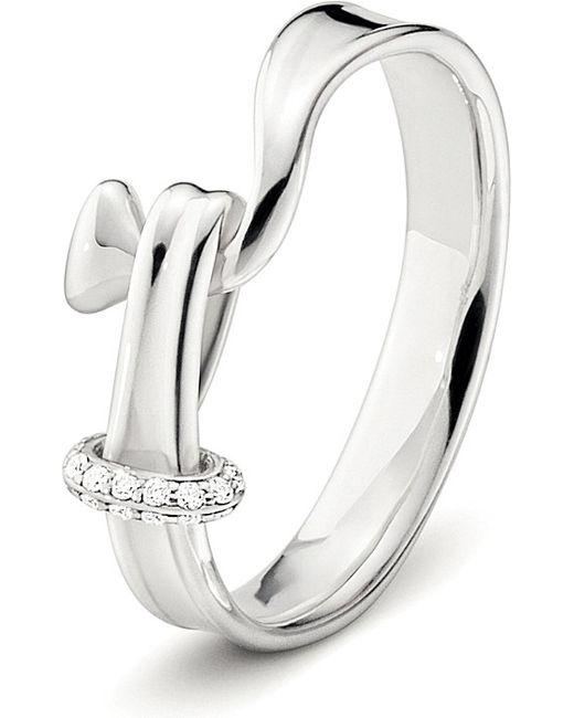 Georg Jensen   Metallic Torun Sterling Silver And Diamond Ring   Lyst