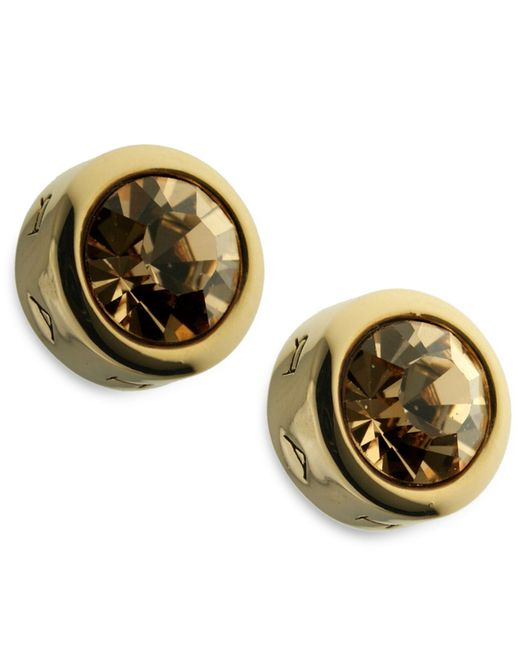 T Tahari | Metallic Gold-tone Colorado Crystal Stud Earrings | Lyst