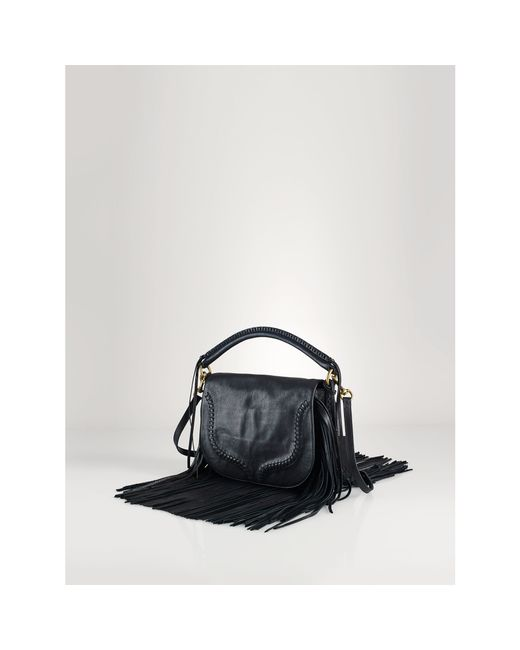 Polo Ralph Lauren | Black Fringed Leather Saddle Bag | Lyst