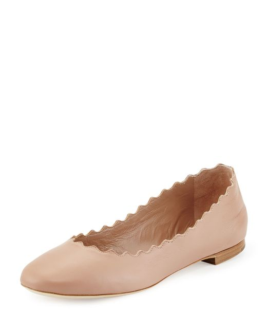 Chloé | Natural Scalloped Leather Ballerina Flat | Lyst