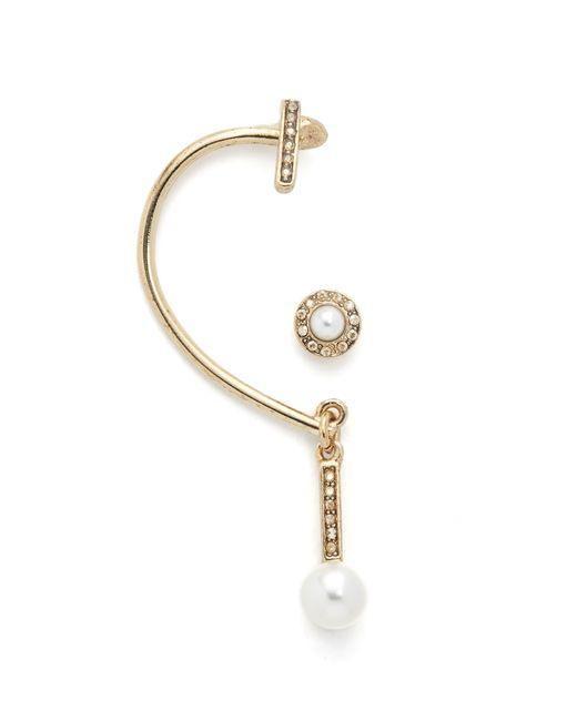 Oscar de la Renta | Metallic Imitation Pearl Asymmetrical Earrings | Lyst