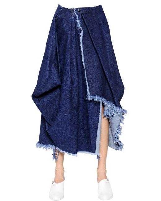 marques almeida wrapped cotton denim skirt in blue
