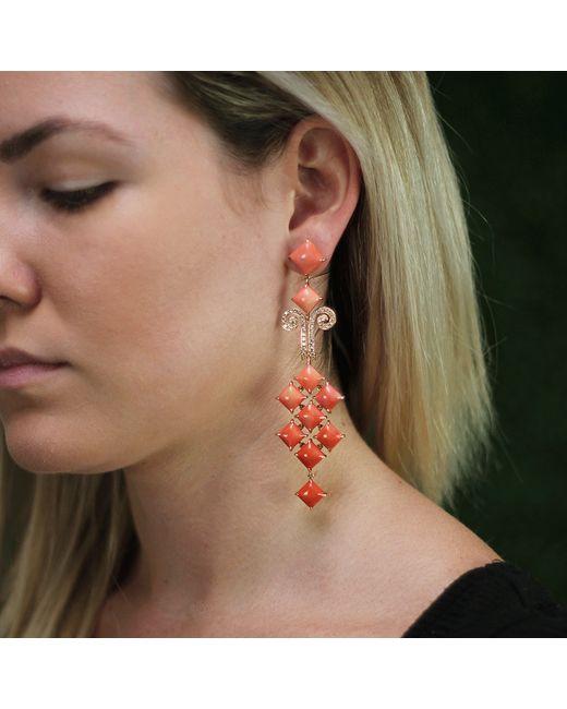 Wendy Yue | Orange Coral Chandelier Earrings | Lyst