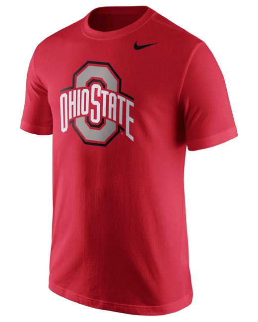 Nike men 39 s ohio state buckeyes logo t shirt in red for men for Ohio state shirts mens