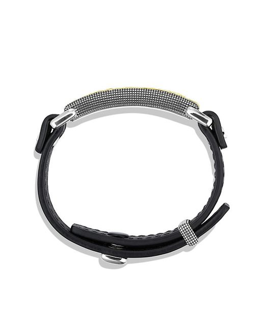 David Yurman | Waves Id Bracelet In Black Leather With 18k Gold for Men | Lyst