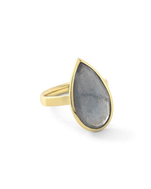 Ippolita   Metallic 18k Rock Candy Single Medium Teardrop Ring In Rutilated Quartz   Lyst