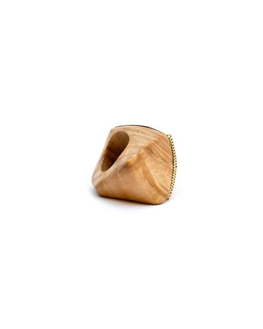 Kara Ross | Brown Gold, Maple Wood And Diamond Coil Ring | Lyst