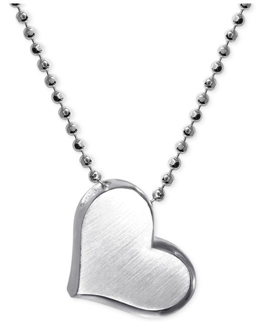 Alex Woo | Metallic Little Princess By Heart Pendant Necklace In Sterling Silver | Lyst