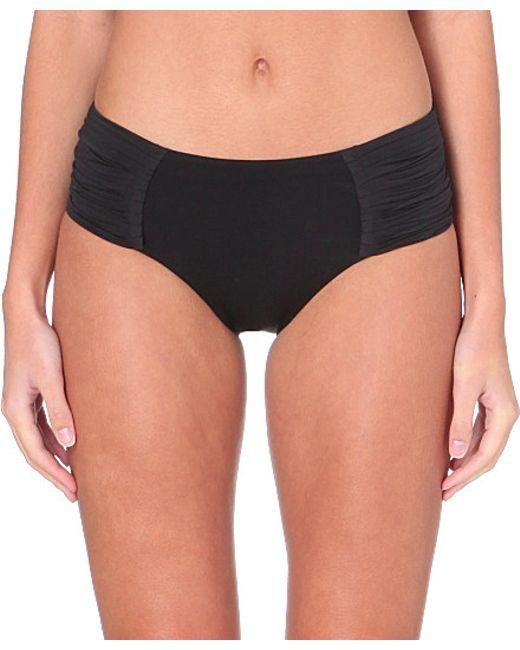 Seafolly | Black Goddess Pleated Retro Bikini Bottoms | Lyst
