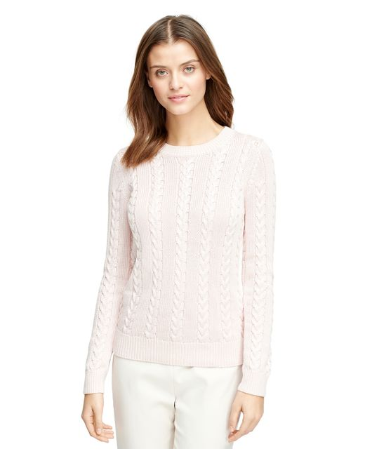 Brooks Brothers | Pink Long-sleeve Cable Sweater | Lyst