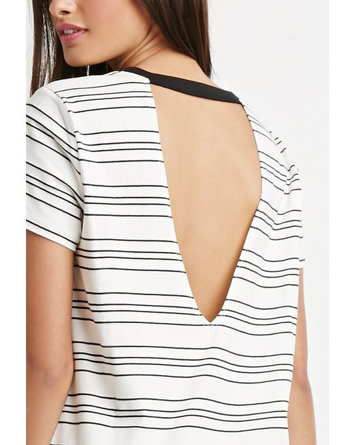Forever 21 | Natural Cutout-back Striped T-shirt Dress | Lyst