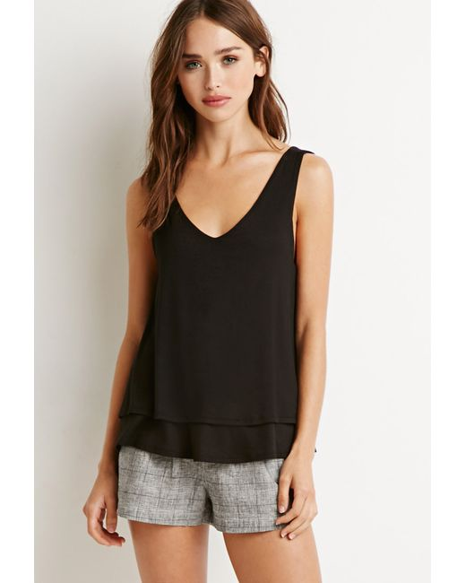 Forever 21 | Black Layered Knit Tank | Lyst