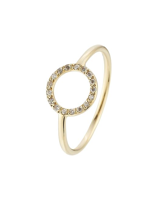 Ileana Makri | Little Circle 18kt Yellow Gold Ring With White Diamonds | Lyst